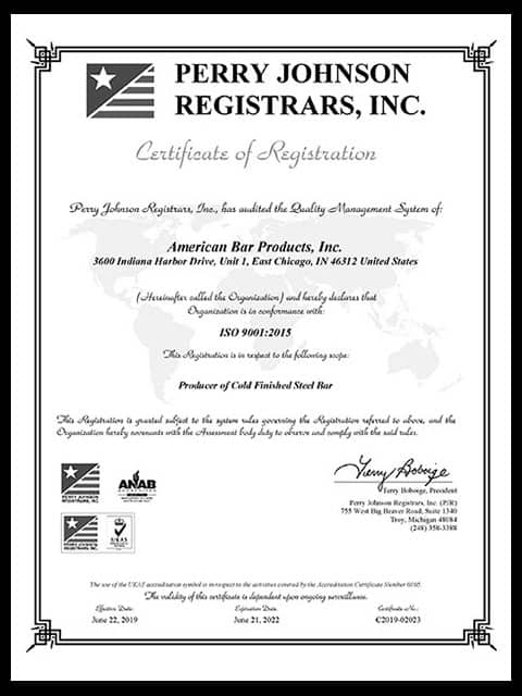 American Bar Products ISO Certificate