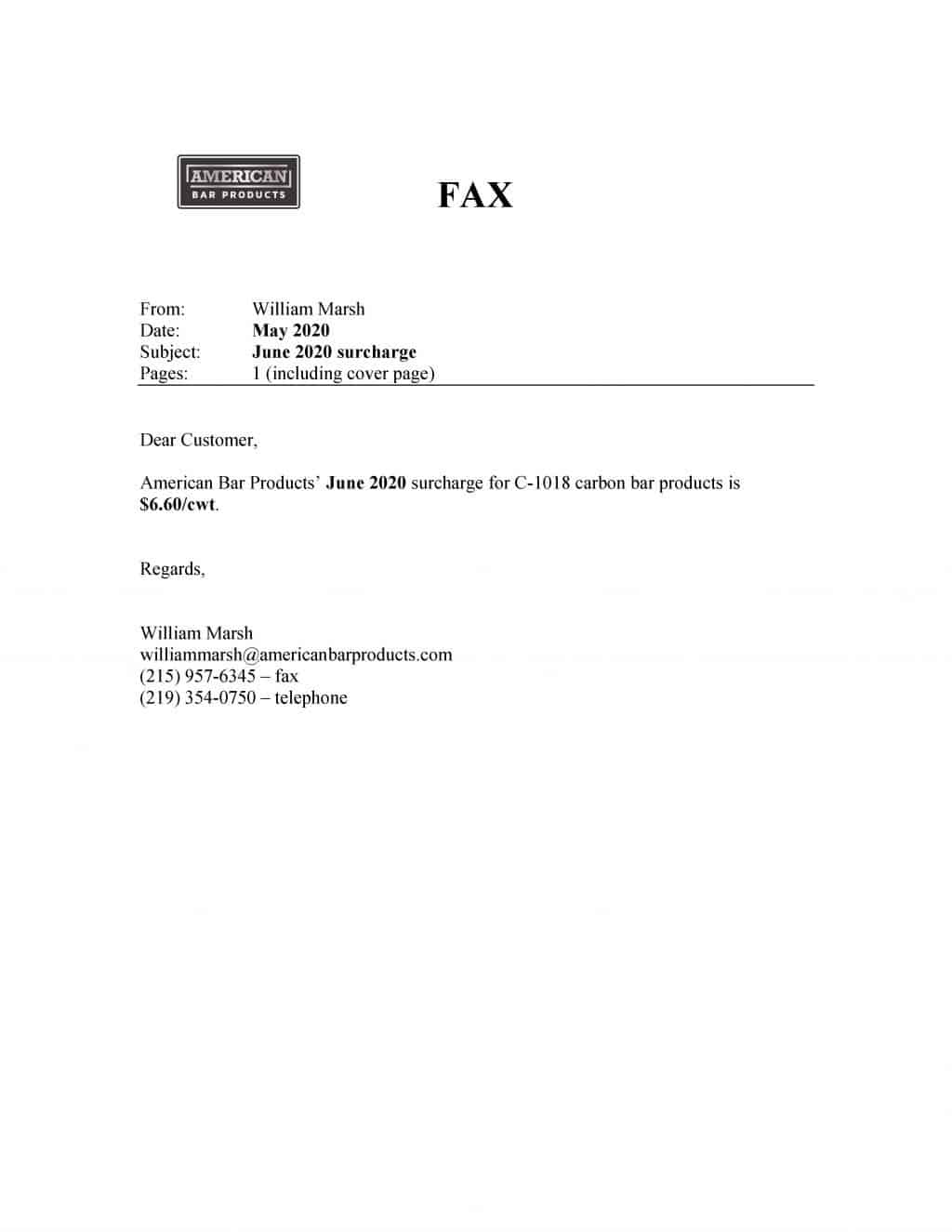 Surcharge Letter, June, 2020
