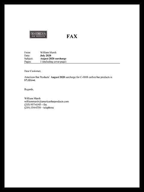 Surcharge Letter, August, 2020