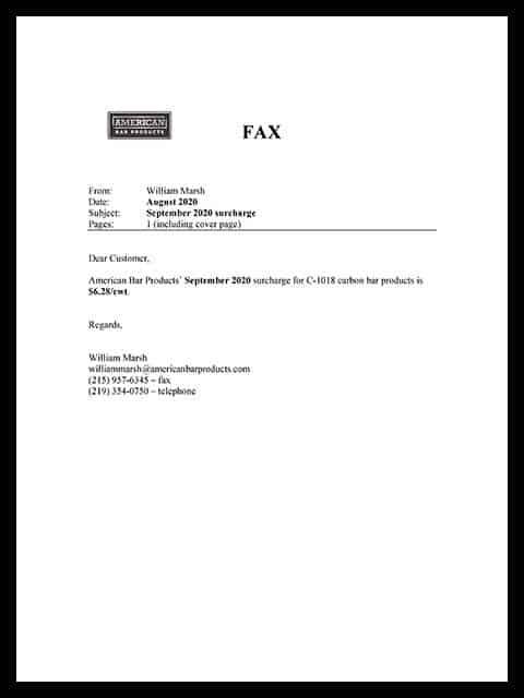 Surcharge Letter, September 2020