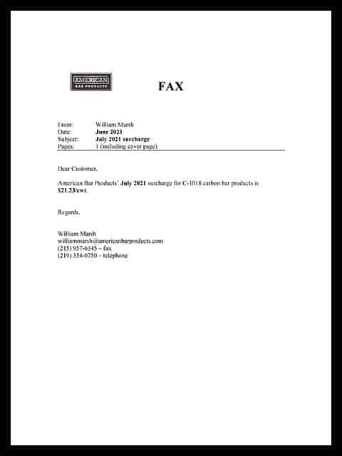 Surcharge Letter, July 2021